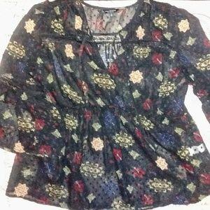 Lucky semi sheer 3/4 bell sleeved blouse - EUC